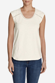 Women's Mountain Meadow Sleeveless Stitch-Detail T-Shirt in White