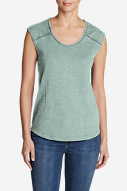 Women's Mountain Meadow Sleeveless Stitch-Detail T-Shirt in Green