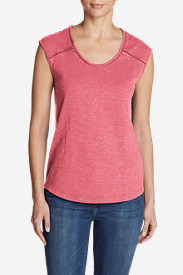 Women's Mountain Meadow Sleeveless Stitch-Detail T-Shirt in Red