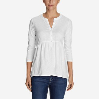 Women's Mountain Meadow 3/4-Sleeve Peplum Henley - Solid in White