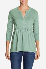 Women's Mountain Meadow 3/4-Sleeve Peplum Henley - Solid in Green