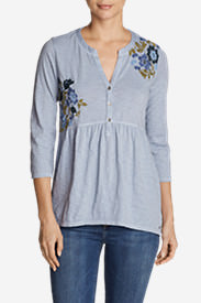 Women's Mountain Meadow 3/4-Sleeve Peplum Henley - Embroidered in Blue