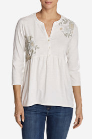 Women's Mountain Meadow 3/4-Sleeve Peplum Henley - Embroidered in White