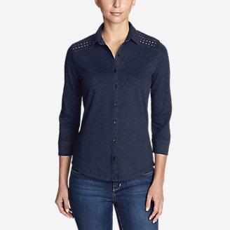 Women's Ravenna 3/4-Sleeve Eyelet Shirt in Blue