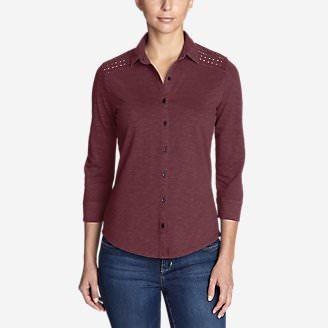 Women's Ravenna 3/4-Sleeve Eyelet Shirt in Red