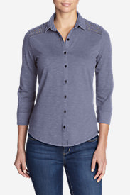 Women's Ravenna 3/4-Sleeve Eyelet Shirt in Purple