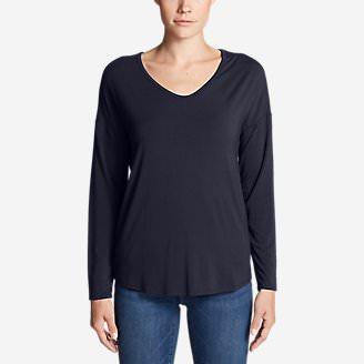 Women's Celestial Ultrasoft Long-Sleeve V-Neck T-Shirt - Solid in Blue