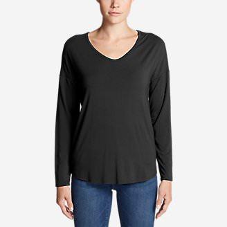Women's Celestial Ultrasoft Long-Sleeve V-Neck T-Shirt - Solid in Black