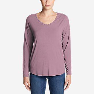 Women's Celestial Ultrasoft Long-Sleeve V-Neck T-Shirt - Solid in Purple