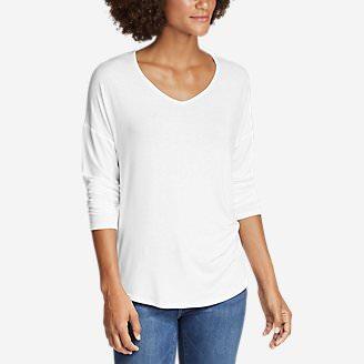 Women's Celestial Ultrasoft Long-Sleeve V-Neck T-Shirt - Solid in White