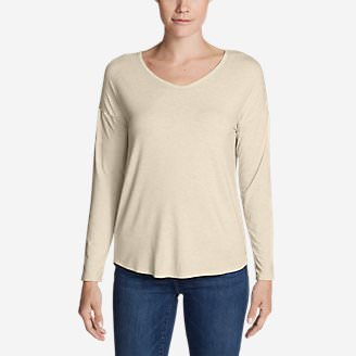 Women's Celestial Long-Sleeve V-Neck T-Shirt - Solid in Beige