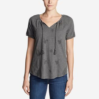 Women's Mountain Meadow Tie-Front Top - Embroidered in Gray