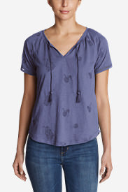 Women's Mountain Meadow Tie-Front Top - Embroidered in Purple