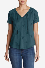 Women's Mountain Meadow Tie-Front Top - Embroidered in Blue