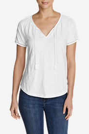 Women's Mountain Meadow Tie-Front Top - Embroidered in White
