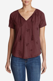 Women's Mountain Meadow Tie-Front Top - Embroidered in Green