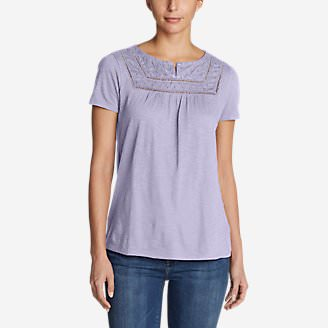 Women's Lola Short-Sleeve Split-Neck Shirt in Purple