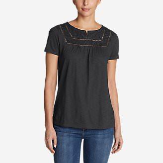 Women's Lola Short-Sleeve Split-Neck Shirt in Gray