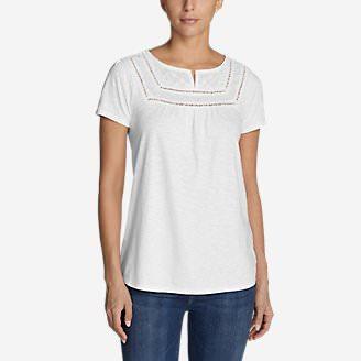 Women's Lola Short-Sleeve Split-Neck Shirt in White