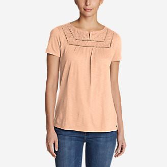 Women's Lola Short-Sleeve Split-Neck Shirt in Orange