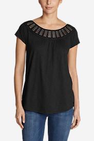 Women's Lola Short-Sleeve Lace Scoop-Neck Shirt in Black