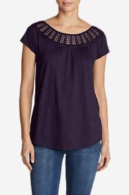 Women's Lola Short-Sleeve Lace Scoop-Neck Shirt in Purple