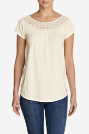 Women's Lola Short-Sleeve Lace Scoop-Neck Shirt in White