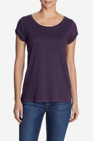 Women's Gate Check Short Twist-Sleeve Top in Purple