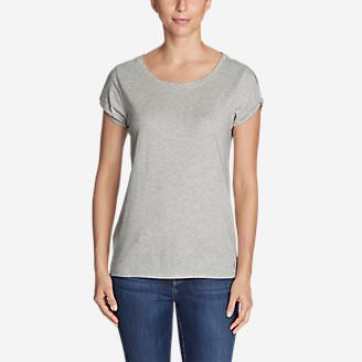 Women's Gate Check Short Twist-Sleeve Top in Gray
