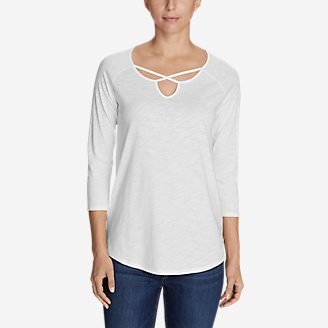 Women's Gate Check 3/4-Sleeve Cross-Front Tunic in White