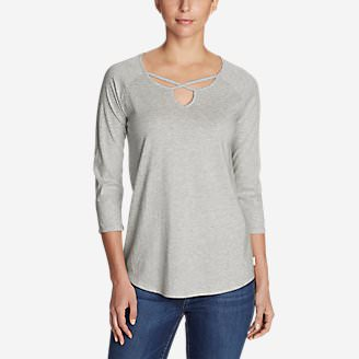 Women's Gate Check 3/4-Sleeve Cross-Front Tunic in Gray