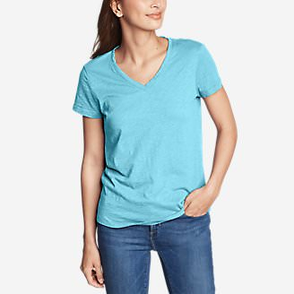 Women's Legend Wash Slub Short-Sleeve V-Neck T-Shirt in Blue
