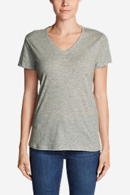 Women's Legend Wash Slub Short-Sleeve V-Neck T-Shirt in Gray
