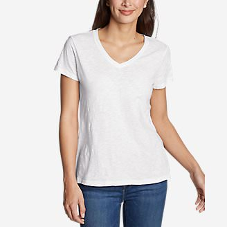 Women's Legend Wash Slub Short-Sleeve V-Neck T-Shirt in White