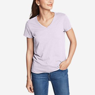 Women's Legend Wash Slub Short-Sleeve V-Neck T-Shirt in Pink