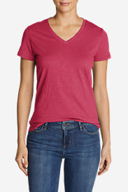 Women's Legend Wash Slub Short-Sleeve V-Neck T-Shirt in Red