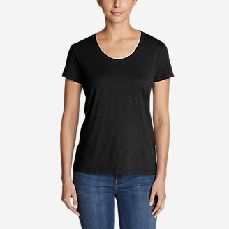 Women's Legend Wash Slub Short-Sleeve Scoop-Neck T-Shirt in Black