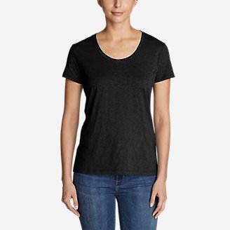 Women's Legend Wash Slub Short-Sleeve Scoop-Neck T-Shirt in Black