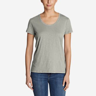 Women's Legend Wash Slub Short-Sleeve Scoop-Neck T-Shirt in Gray