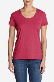 Women's Legend Wash Slub Short-Sleeve Scoop-Neck T-Shirt in Red
