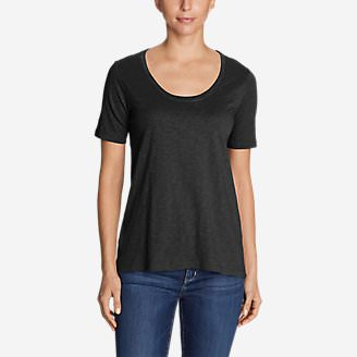 Women's Legend Wash Slub Short-Sleeve Scoop-Neck High-Low Top in Black