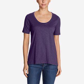 Women's Legend Wash Slub Short-Sleeve Scoop-Neck High-Low Top in Purple
