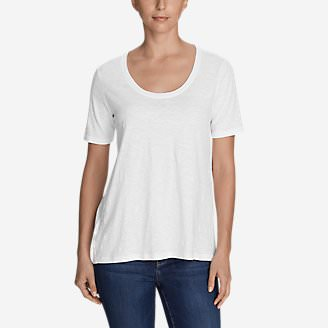 Women's Legend Wash Slub Short-Sleeve Scoop-Neck High-Low Top in White