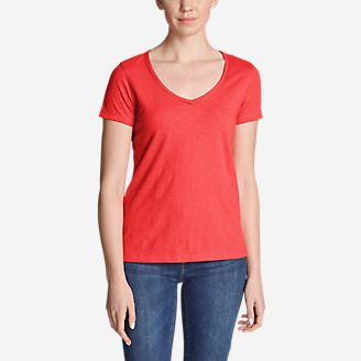 Women's Ladder-Stitch Short-Sleeve V-Neck T-Shirt in Red
