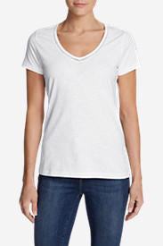 Women's Ladder-Stitch Short-Sleeve V-Neck T-Shirt in White