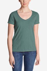Women's Ladder-Stitch Short-Sleeve V-Neck T-Shirt in Blue