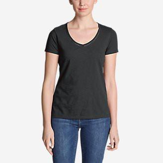 Women's Ladder-Stitch Short-Sleeve V-Neck T-Shirt in Gray