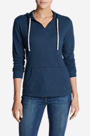 Women's Slub Long-Sleeve Pullover Hoodie in Blue