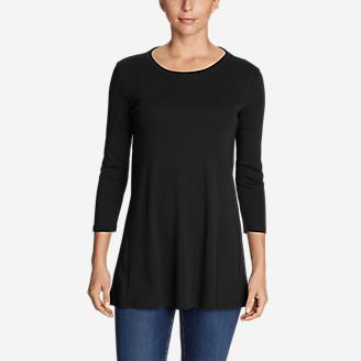 Women's Favorite 3/4-Sleeve Tunic T-Shirt in Black