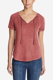 Women's Mountain Meadow Tie-Front Top - Solid in Red